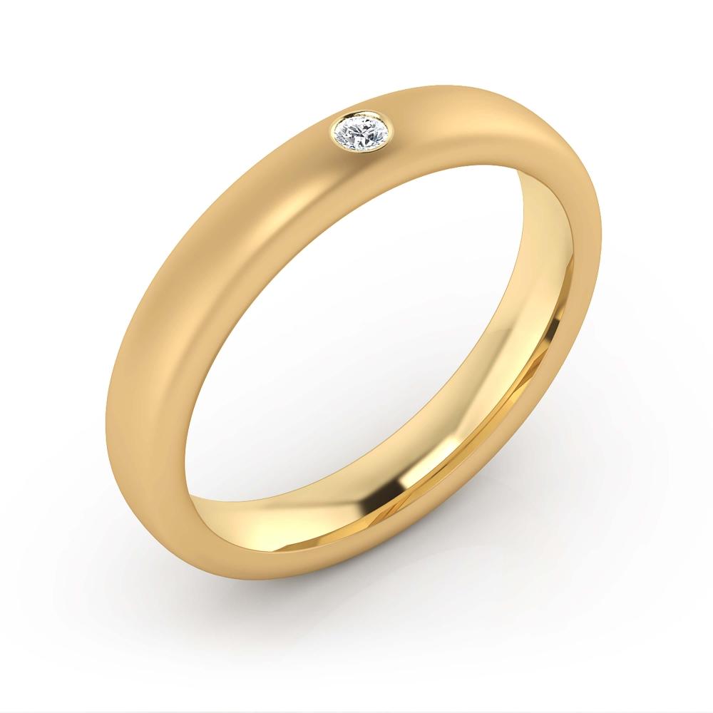 Alianza de boda de oro amarillo y un diamante