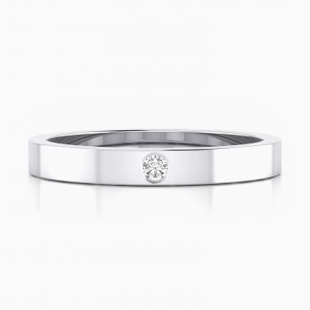 Alianza de boda plana y diamante central en talla brillante 18k