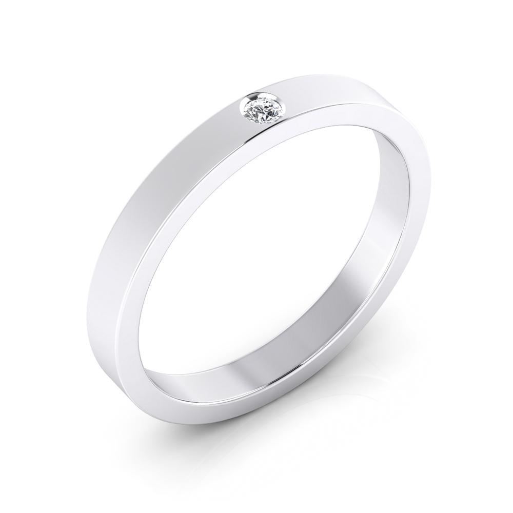 foto de perfil de alianza de boda plana con diamante central en talla brillante