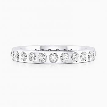 Alianza de boda de oro blanco y 22 diamantes