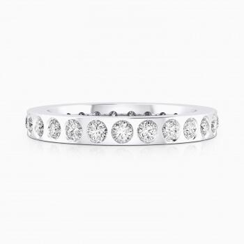 Alianzas de boda de oro blanco de 18k con 22 diamantes