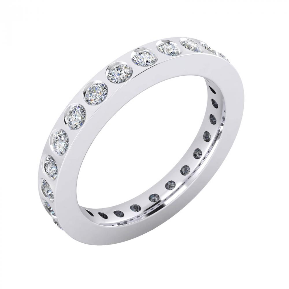 foto de perfil de alianza de boda de oro blanco y 22 diamantes