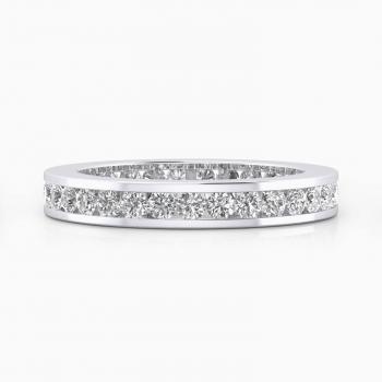 Alianza de boda de oro blanco y diamantes de talla brillante