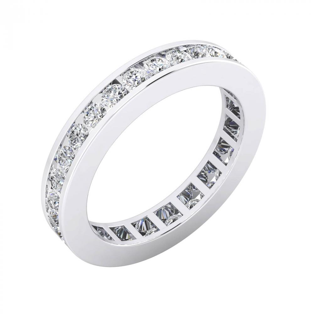 foto de perfil de alianza de boda de oro blanco y diamantes de talla brillante