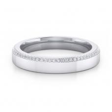 Alianza de boda de oro blanco y 68 diamantes negros