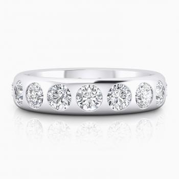 Alianza de boda de oro blanco con diamantes