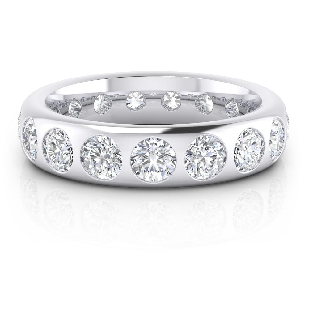 Alianza de matrimonio de oro blanco y diamantes