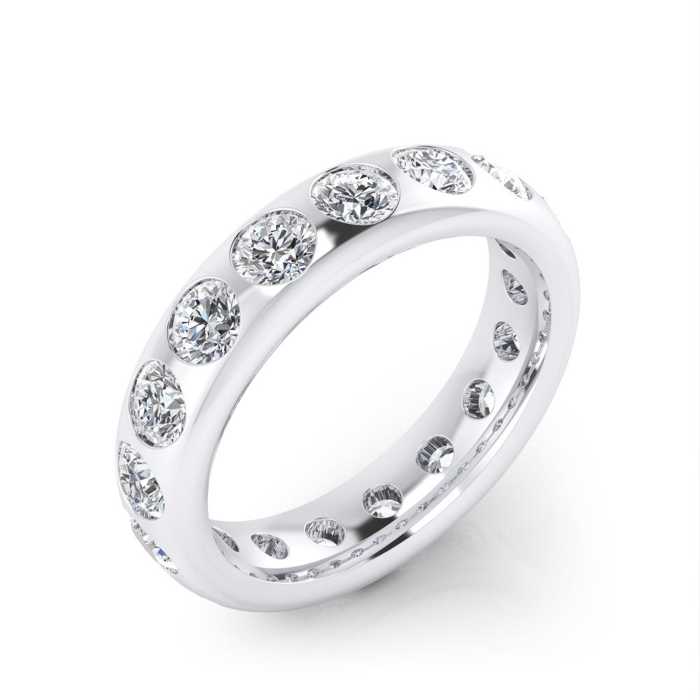 Foto de perfil de alianza de boda de oro blanco y diamantes