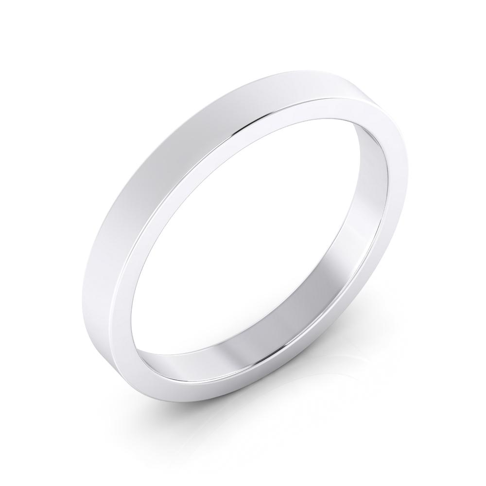 Foto de perfil de alianza de boda para hombre plana de oro blanco de 18K