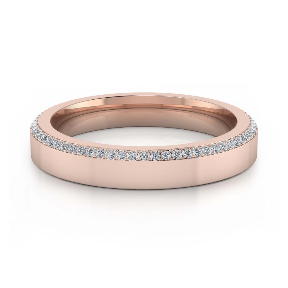 Alianza de boda de oro rosa y 68 diamantes