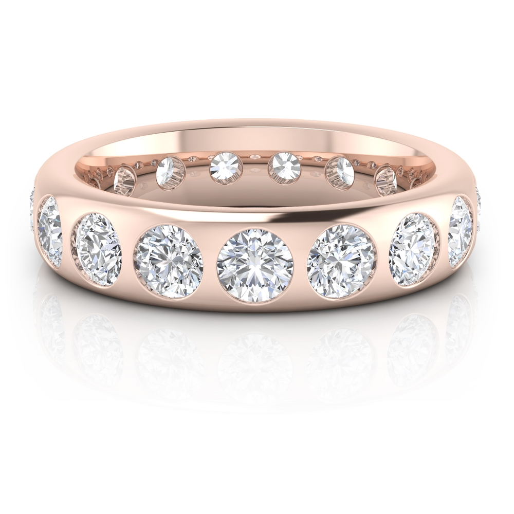 Alianza de boda en oro rosa de 18k con diamantes