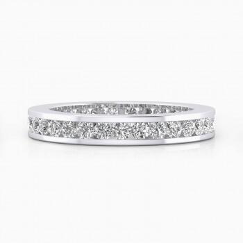 Alianza de boda de oro blanco y diamantes brillantes