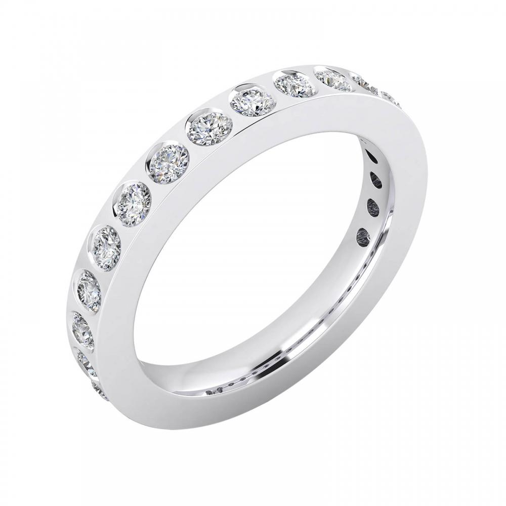 Alianzas de boda de oro blanco de 18k con 14 diamantes