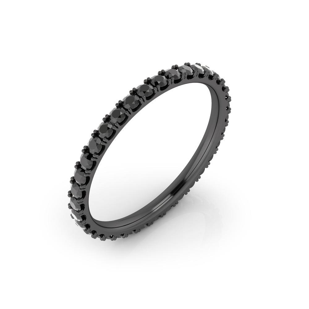 Anillo de compromiso realizado en oro negro de 18K con diamantes negros