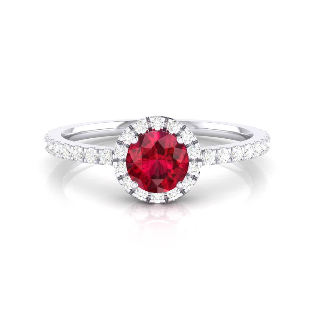 Anillo de compromiso con rubí y orla de brillantes