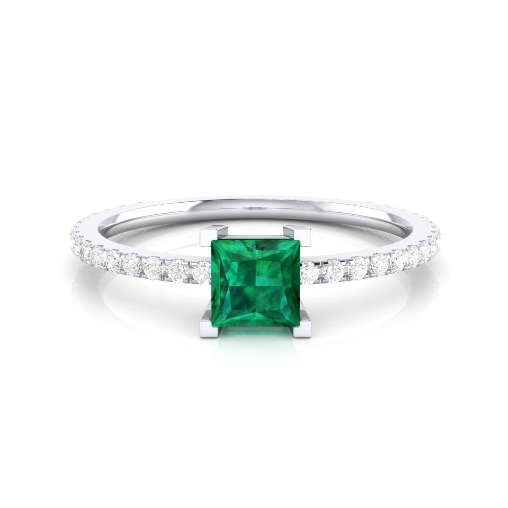 Anillo de compromiso con turmalina verde y diamantes