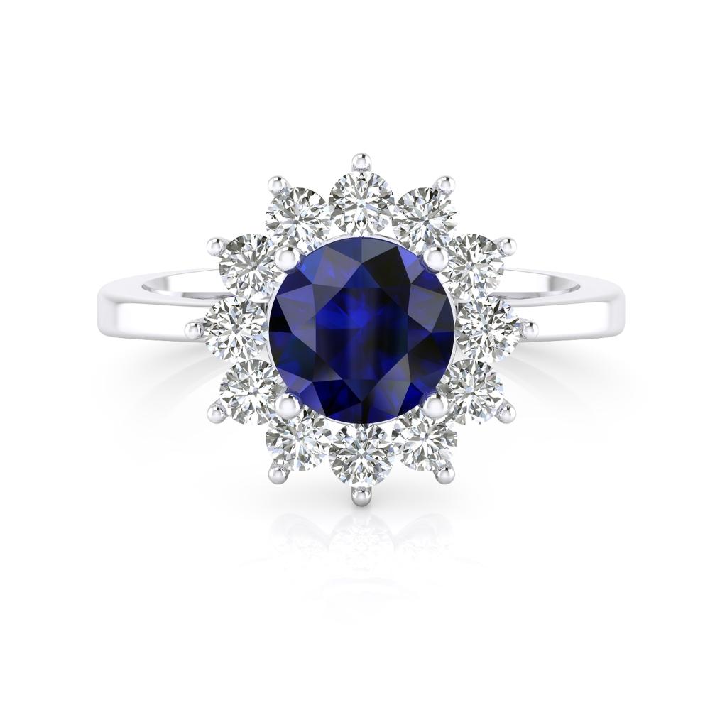 Anillo de compromiso con zafiro y diamantes