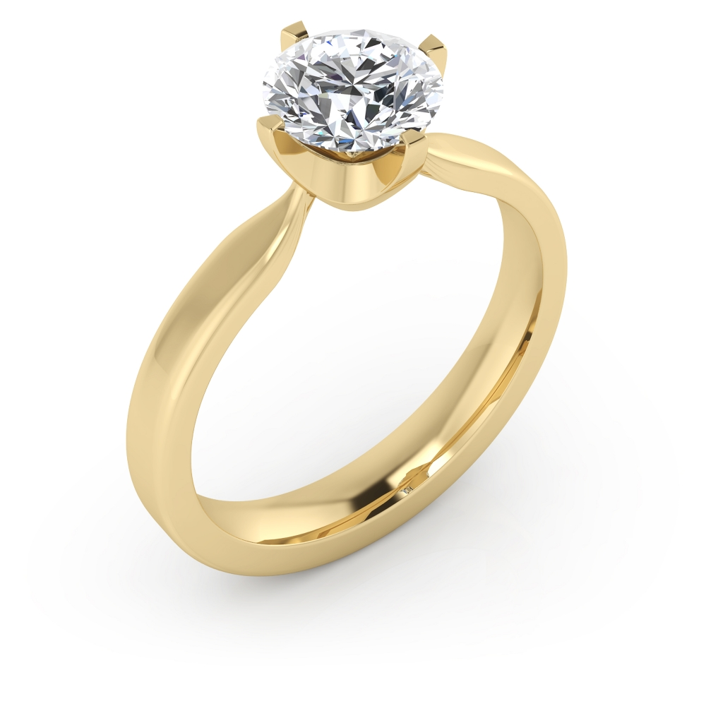 Anillo de compromiso exclusivo, de cuatro puntas, estilo solitario, de oro amarillo de 18 k
