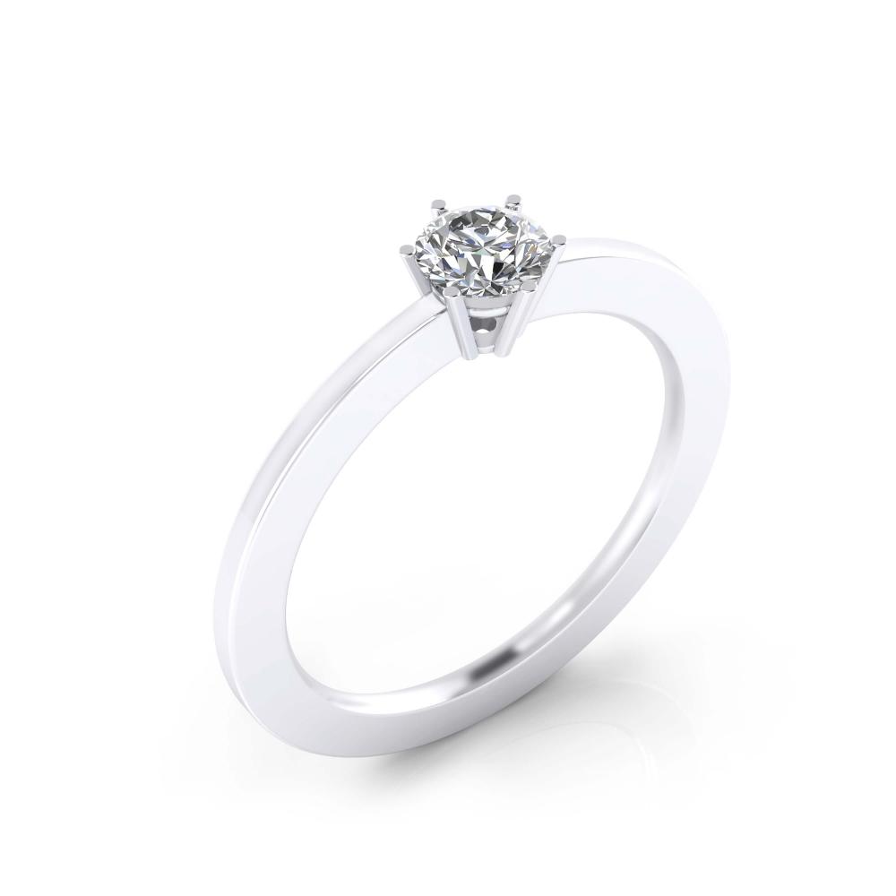 Anillo de compromiso de oro blanco con 1 diamante talla redonda