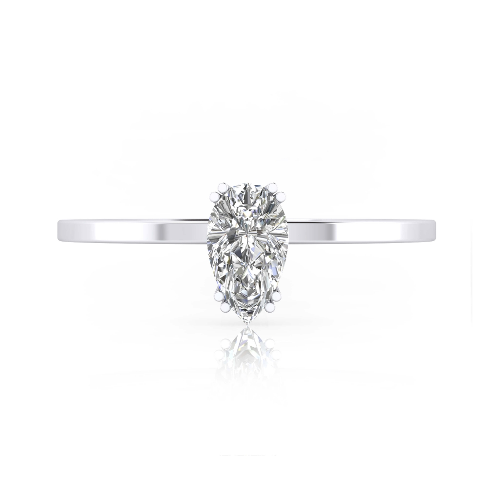 Anillo de compromiso de oro blanco con 1 diamante talla pera