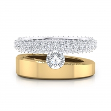 Anillos de compromiso de oro amarillo y blanco de 18k con 121 diamantes