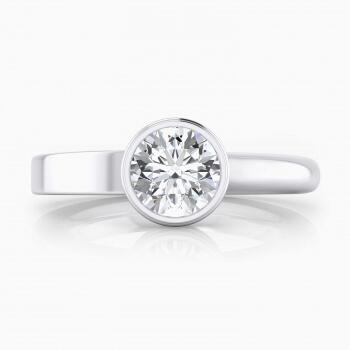Anillos de compromiso de oro blanco de 18k con 1 diamante