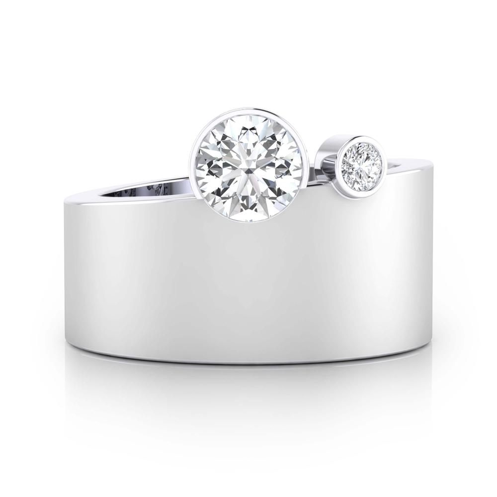 Anillo de compromiso oro blanco y 2 diamantes
