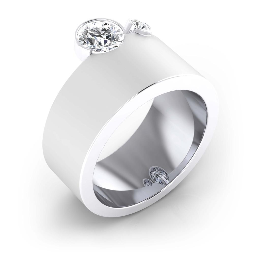 Anillos de compromiso de oro blanco de 18k con 2 diamantes