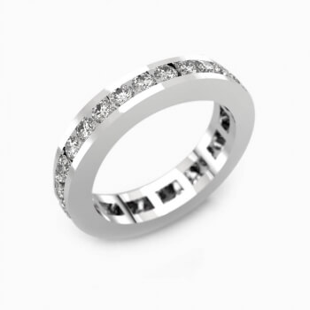 Anillos de compromiso de oro blanco de 18k con 30 diamantes