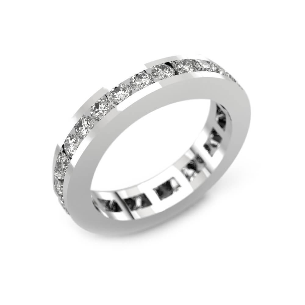 Anillo de compromiso de oro blanco y 30 diamantes