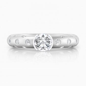 Anillos de compromiso de oro blanco de 18k con 56 diamantes