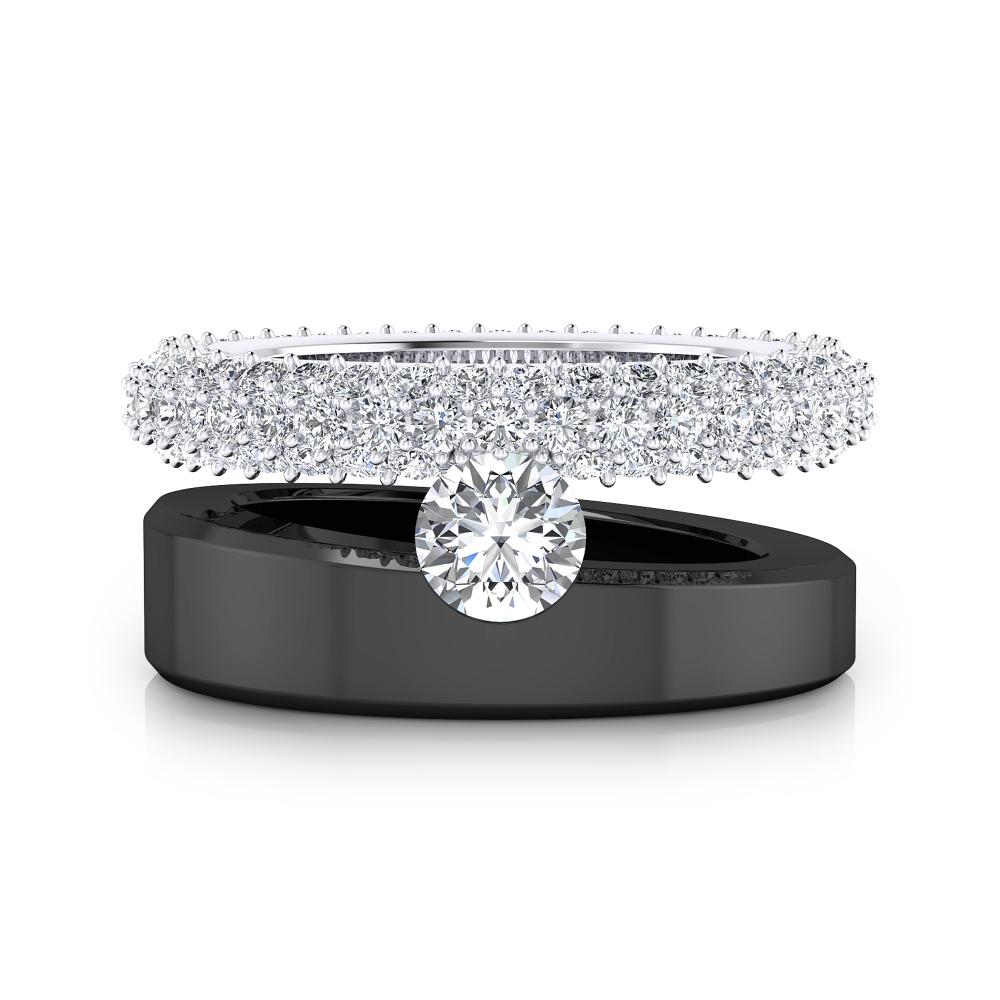 Anillo de compromiso oro blanco y negro con 121 diamantes