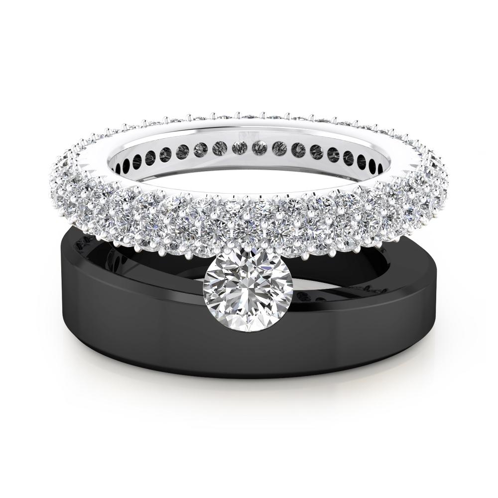 Anillos de compromiso en oro blanco y negro de 18k con 121 diamantes