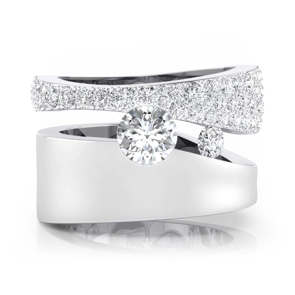 Anillo de compromiso de oro blanco y 61 diamantes