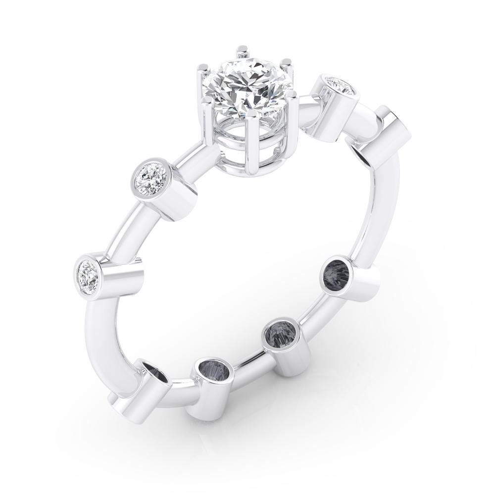Anillos de compromiso de oro blanco de 18k con 9 diamantes
