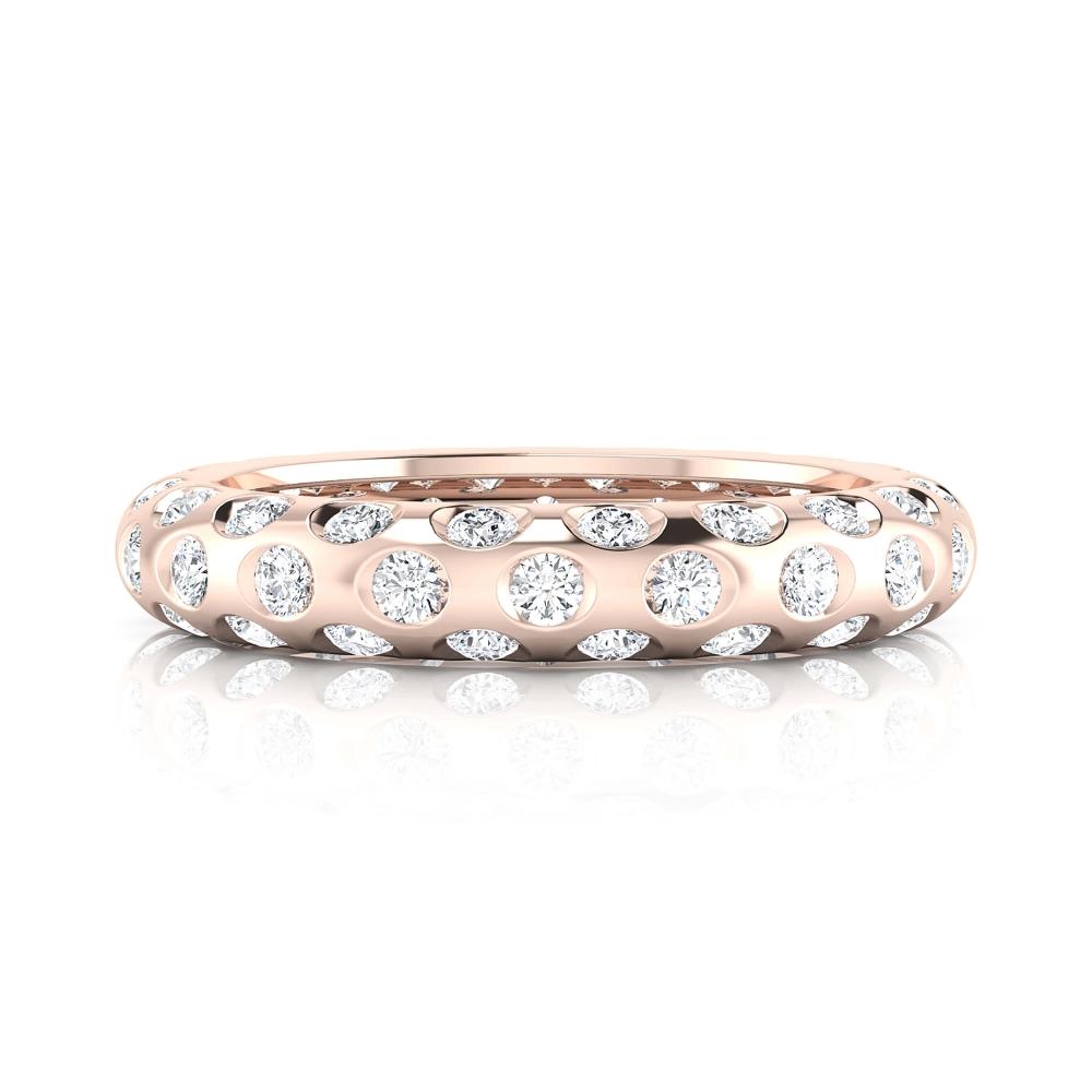 Anillo de compromiso de oro rojo y 60 diamantes