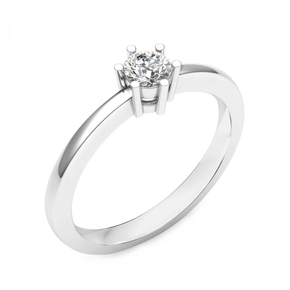 foto de perfil de alianza de compromiso de oro blanco y 1 diamante central
