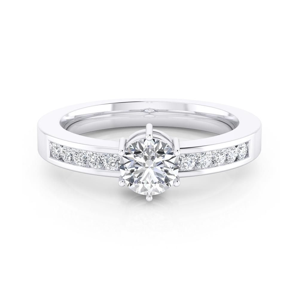 Anillo de compromiso en oro blanco con 10 diamantes y 1 diamante talla brillante.