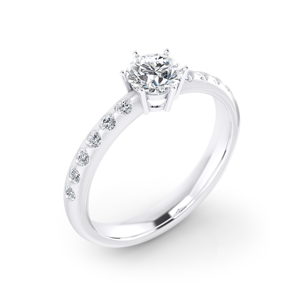 Solitario de compromiso en oro blanco con 12 diamantes y 1 diamante central talla brillante.