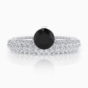 Anillos de compromiso oro blanco con diamante negro y 143 diamantes