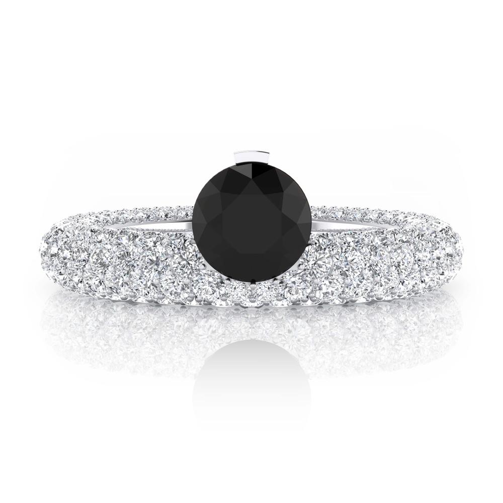 Anillo de pedida oro blanco y diamante negro