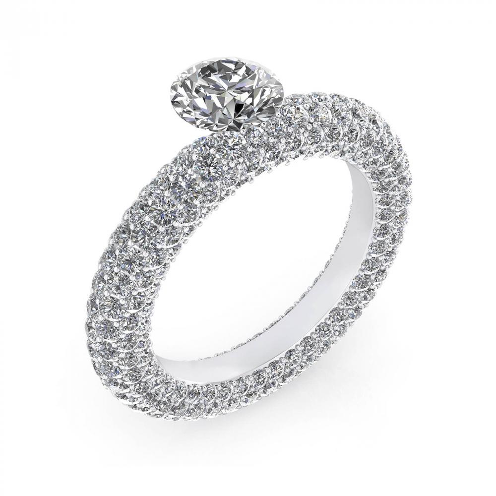 Anillos de compromiso de oro blanco con 143 diamantes y diamante central