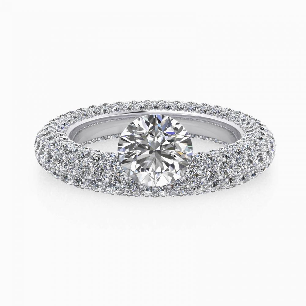Anillo de compromiso de oro blanco 143 diamantes y diamante central