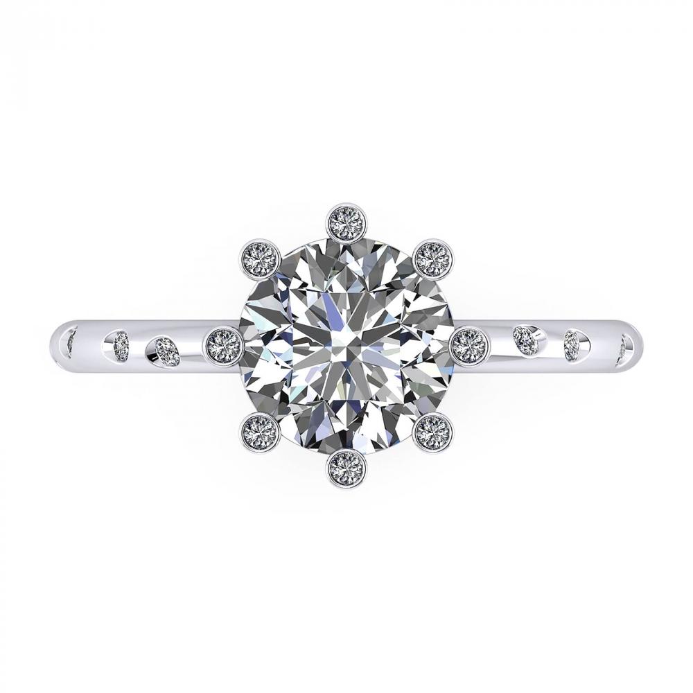 Anillos de compromiso de oro blanco con 16 diamantes y 1 diamante central