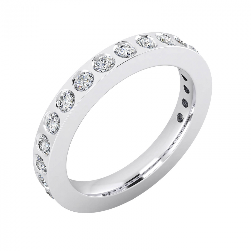 Anillos de Compromiso oro blanco 18k con 14 diamantes