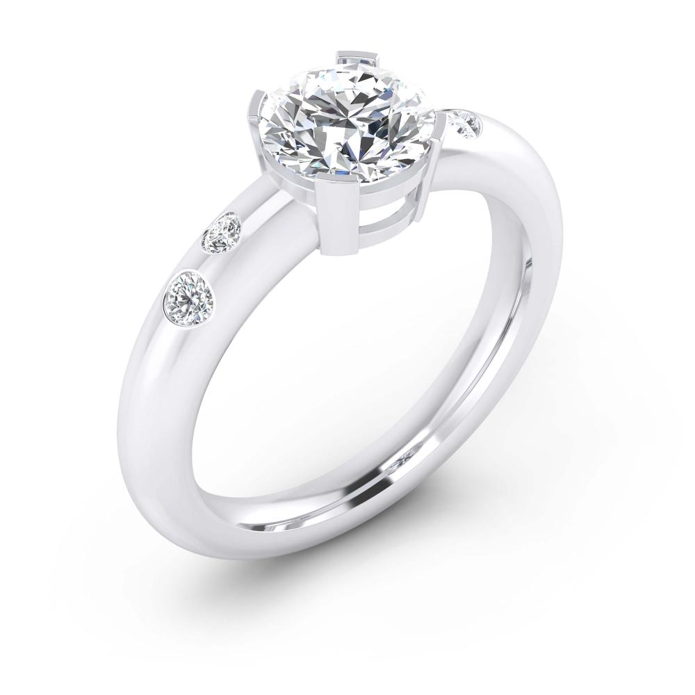 Anillosde compromiso de oro blanco de 18k con 4 diamantes