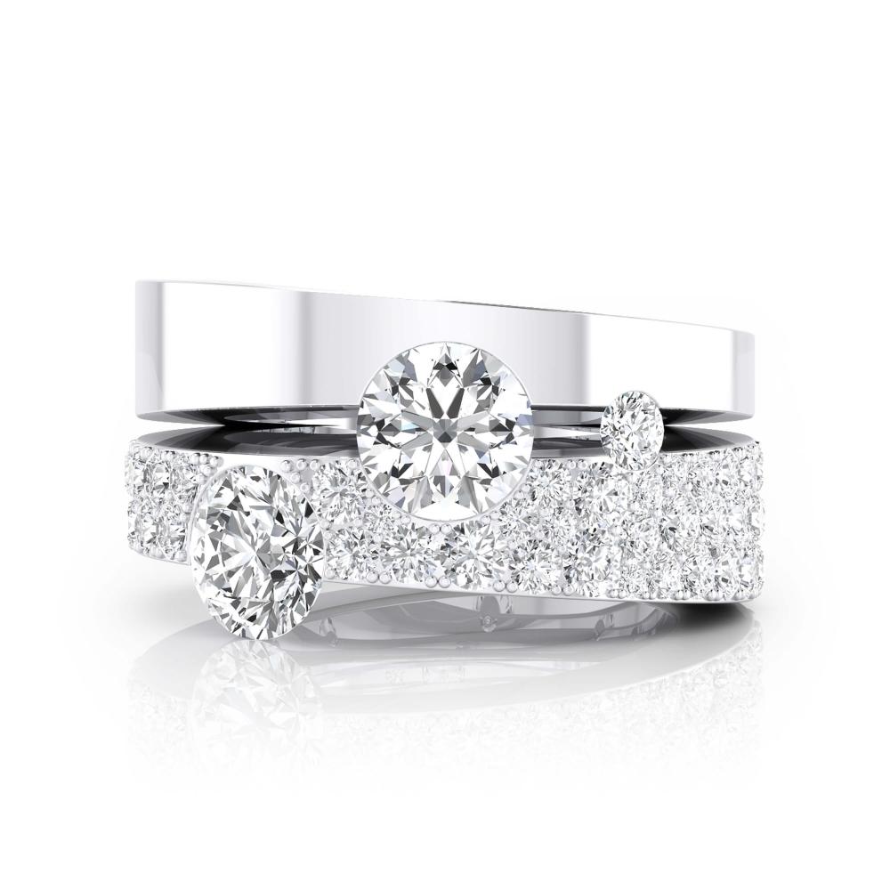 Anillos de compromiso de oro blanco con 190 diamantes y 2 diamantes centrales