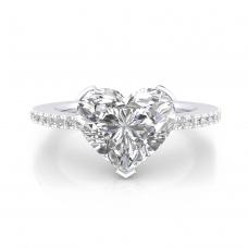 Anillos de compromiso de oro blanco 40 diamantes 1 diamante talla Corazón