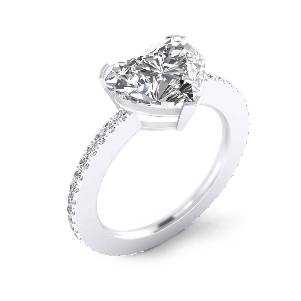 foto de perfil de anillo de compromiso oro blanco y diamante talla Corazón