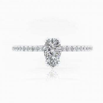 Anillos de compromiso de oro blanco con 40 diamantes y 1 diamante talla Pera